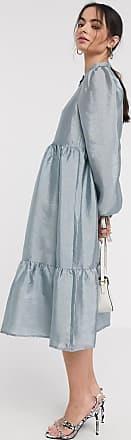 Vila tiered midi smock dress in grey