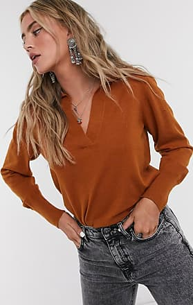 Object v neck jumper with collar in camel-Brown