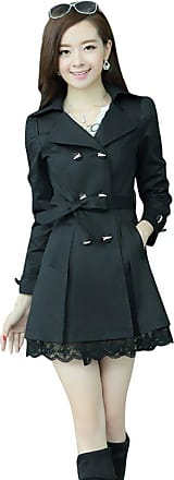 YOUJIA Womens Autumn Long Trench Coat Lapel Double Breasted Overcoats Belted Lace Outwear Parka (Black, CN 2XL)