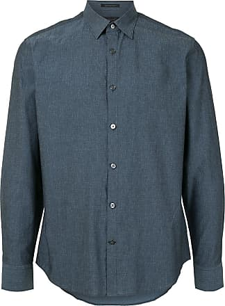 Durban crosshatch print shirt - Azul