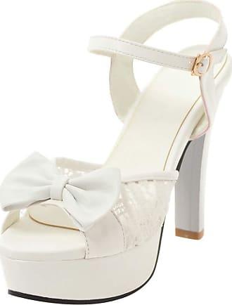 Mediffen Wedding Shoes Women High Heels Peep Toe Platform Sandals Elegant Ladies High Heeled Sandals Evening Party Ankle Strap Sandals White Size 36 Asian