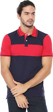 Wrangler Camisa Polo Wrangler Reta Recortes Azul-marinho/Vermelha