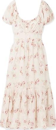 LoveShackFancy Angie Gathered Floral-print Linen Maxi Dress - Cream
