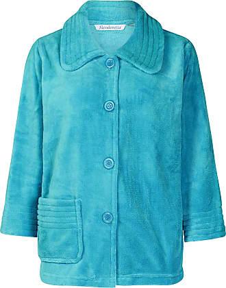 Slenderella Ladies Teal Green 3/4 Sleeve Soft Teal 260GSM Fleece Button Up Bed Jacket Medium