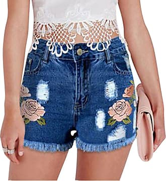 ZongSen Womens Plus Size Flower Embroidered Hole Denim Shorts Distressed Jeans Dark Blue M