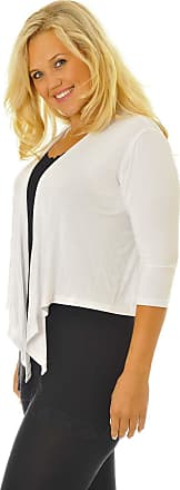 Nouvelle Collection New Womens Plus Size Shrug Ladies Top Front Tie Outwear 3/4 Sleeves Soft Sale White 20-22