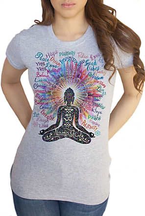 Irony Womens Top Namaste Buddha Flowers-Positive Quotes Colour Explosion TS1318 (Grey, Medium)