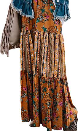 QIYUN.Z 2020 Summer Women Midi Skirts Beach Holiday Floral Print Layer Flare Pleated Skirt for Women Orange L