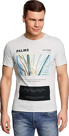 oodji Mens Printed Cotton T-Shirt, Grey, UK 34 / EU 44 / XS
