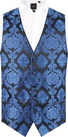 Dobell Boys Blue Victorian Jacquard Waistcoat Regular Fit (Age 13-14)