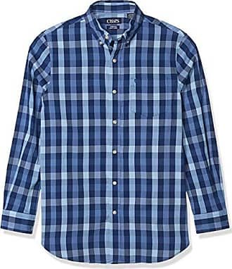 CHAPS Men/'s Easy Care Long Sleeve Button Front Shirt SIZES M /& L Myth Blue NWT