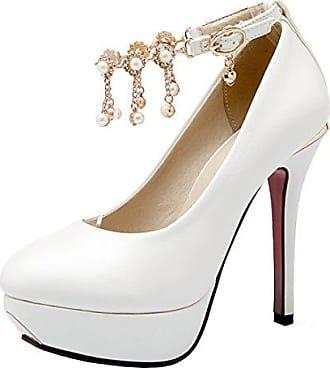 b9983540af0207 Aiyoumei Damen Lack Knöchelriemchen Plateau Stiletto Pumps mit Perlen  Elegant Abend Schuhe