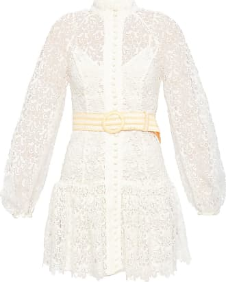 Zimmermann Band Collar Lace Dress Womens White