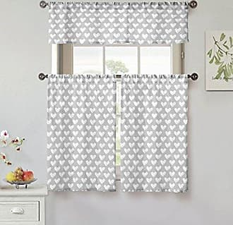 Kensie Roza 100% Cotton Heart Print Kitchen Tier & Valance Set   Small Window Curtain for Cafe, Bath, Laundry, Bedroom, Silver