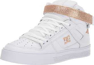 DC Womens Pure HIGH-TOP V Skate Shoe, White/Gold, 4.5 UK