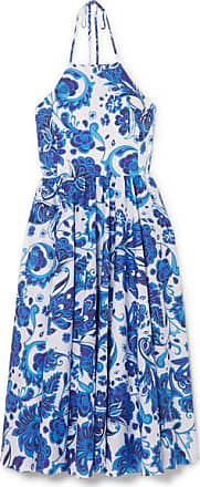 Caroline Constas Gretta Printed Cotton-blend Halterneck Dress - Blue