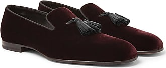 Tom Ford William Leather-trimmed Velvet Tasselled Loafers - Burgundy