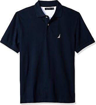 Nautica Mens Short Sleeve Cotton Pique Polo Shirt, Navy Solid, Medium