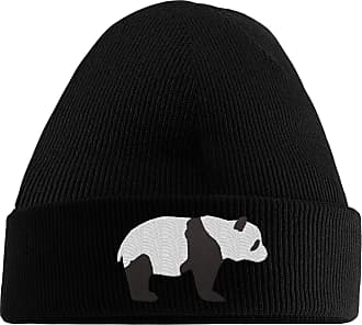 HippoWarehouse Panda Bear Embroidered Beanie Hat Black