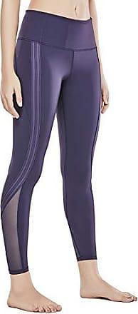 86e3d8f6a550c4 CRZ YOGA Damen Hohe Taille Tummy Control Sporthose Elastisch Mesh Joggen Yoga  Legging- 24 Marine