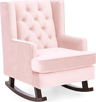 Best Choice Products Tufted Luxury Velvet Wingback Rocking Accent Chair, Living Room, Bedroom w/ Wood Frame - Blush Pink