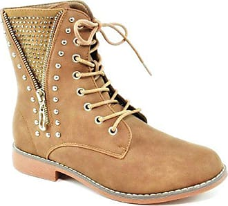 5c8228821a760a King Of Shoes Bequeme Damen Nieten Stiefeletten Worker Schnürboots Outdoor  Ankle Halbschaft Knöchelhohe Stiefel Blockabsatz B85