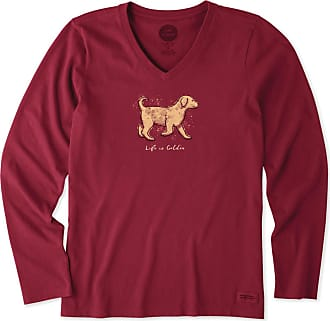 Life is good Womens Life Is Golden Long Sleeve Crusher Vee XXXL Cranberry Red