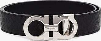 Salvatore Ferragamo Mens Black Gancini Reversible Embossed Leather Belt