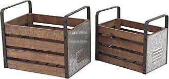 UMA Enterprises Inc. Deco 79 94654 Storage Crate Silver/Beige/Gray
