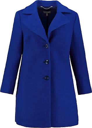 Ulla Popken Womens Plus Size Notch Collar Wool Blend Coat Royal 30 713776 73-56