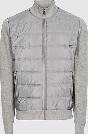 Reiss Freddie - Hybrid Zip Through Quilted Jumper in Grey Melange, Mens, Size XXL