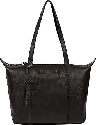 Pure Luxuries London Pure Luxuries London Oval Womens 33cm Biodegradable Leather Tote Bag with Zip Over Top, Unlined Central Compartment and Matchinng Leather Handles in J