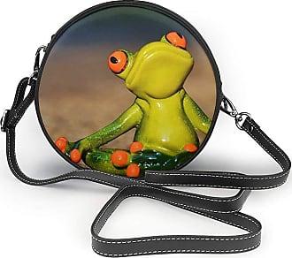 Turfed Cartoon Frog Print Round Crossbody Bags Women Shoulder Bag Adjustable PU Leather Chain Strap and Top Zipper Small Handbag Handle Tote