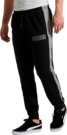 Puma Contrast Cuffed Knitted Mens Sweatpants, Cotton Black, size 2X Large, Clothing