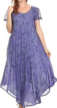 Sakkas 16800 - Sayli Long Tie Dye Cap Sleeve Embroidered Wide Neck Caftan Dress/Cover Up - Dusty Blue - OS