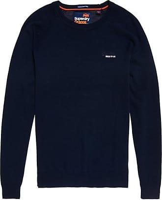Neuer Herren Superdry Orange Label Pullover mit V-Ausschnitt Dull Dunkelblau