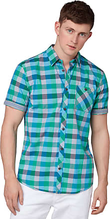 Tom Tailor Casual Mens Ray Casual Shirt, Blue (Green Blue Bright Ck 17417), Large