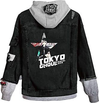 Cosstars Anime Tokyo Ghoul Kaneki Ken Hooded Denim Jacket Unisex Cosplay Button Trucker Jeans Coat Black-9-XS