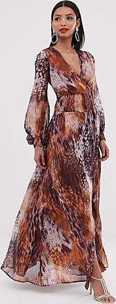 Asos maxi dress with smocking detail in mixed animal print-Multi