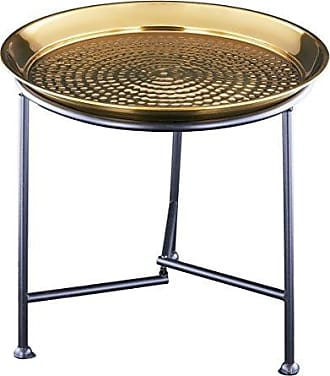 Old Dutch International Hammered Tray with Knock Down Stand, Gold, 16.25 D. x 15.5 H