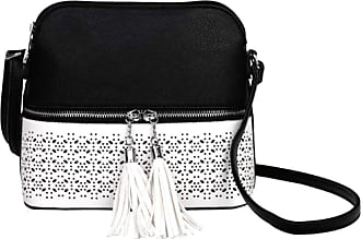 LeahWard Womens Quality Faux Leather Cross Body Bags Tassel Shoulder Bag Handbags For Holiday Party 1061 (BLACK/WHITE)
