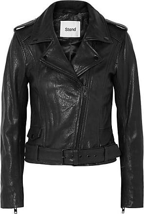 STAND Daria Leather Biker Jacket - Black