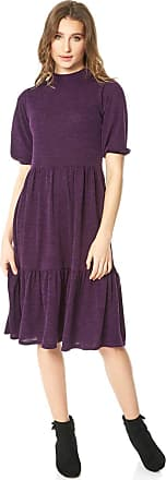 Roman Originals Women Puff Sleeve Knitted Midi Dress - Ladies Everyday Casual Smart Versatile Tiered Skirt Pull on Short Sleeve High Neckline Fit and Flare Midi Dress