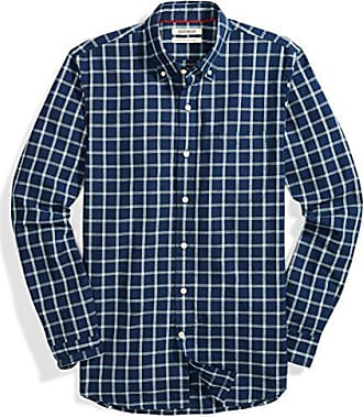 Goodthreads Mens Slim-Fit Long-Sleeve Plaid Chambray Shirt, Plaid, XX-Large