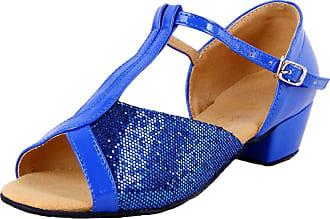 Insun Girls Ballroom Dance Shoes Latin Salsa Performance Shoes Suede Sole Blue 2 12.5 UK Child