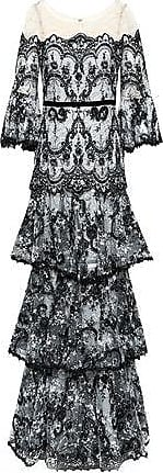 Marchesa Marchesa Notte Woman Tiered Embroidered Chantilly Lace-paneled Tulle Gown Black Size 10