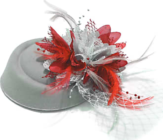 Caprilite Silver Grey and Red Fascinator Hat for Women Weddings Bird Cage Veil Clip