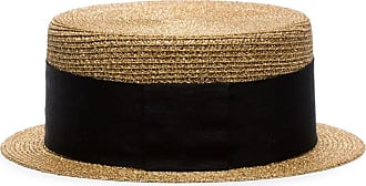 e4a9694ff6d Saint Laurent metallic gold and black small straw boater hat