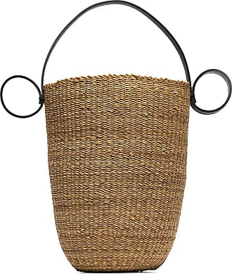 Inès Bressand Bolsa bucket de palha - Neutro
