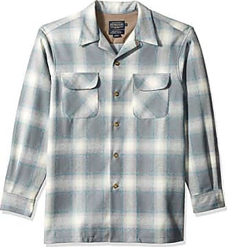 Pendleton Mens Long Sleeve Classic-fit Board Shirt, surf Blue Mix/Grey Ombre, MD